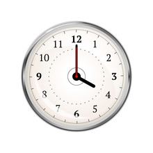 Realistic Clock Face Showing 0...