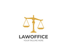 Scales Of Justice Logo Template. Law Scales Vector Design. Legal Scales Of Justice Logotype