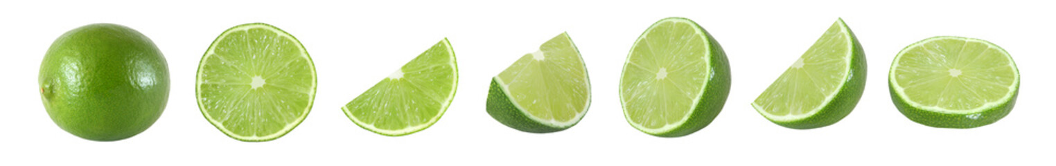 Collection of whole and cut lime fruits isolated on white background with clipping path