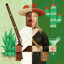 Halved Character, Man And Woman With Mexican Cultural Symbols