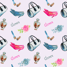Glamor Accessories, Blue Barrel Type Bag, Lipstick, Perfume, Leather Kitten Heel Shoes, Pink Rose, Watercolor Illustration With Inscription  On Soft Gray Background Seamless Pattern Design