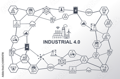 industry 4 0 diagram and smart manufacturing concept  industrial 4 0  process system on industrial factory and