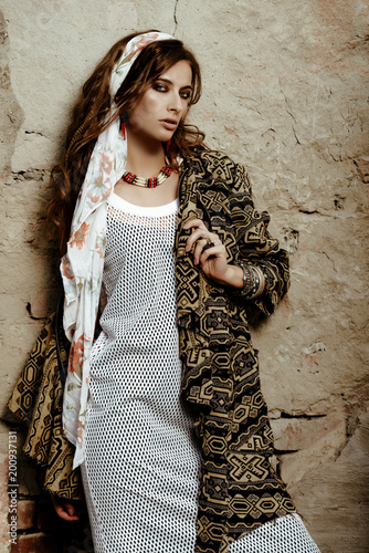 Poster Gypsy boho style in clothes