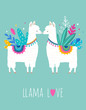 Llama Love illustration, cute hand drawn elements and design for nursery design, poster, greeting card