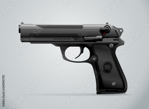Fotografía gun black metal weapon vector illustration