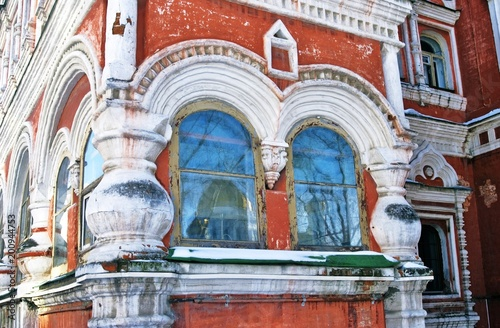 Poster de jardin Con. Antique Architecture of Moscow city. Chamber of Averky Kirillov at Bersenevka, popular landmark, famous historical building in Moscow city center, on Bersenevskaya embankment.