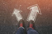 Sneakers On The Asphalt Road W...
