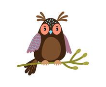 Vector Owl. Cartoon Cute Owl O...
