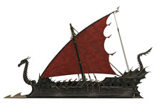 Dragon Wooden Ship In A White ...