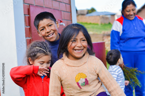 Happy native american family in the countryside.
