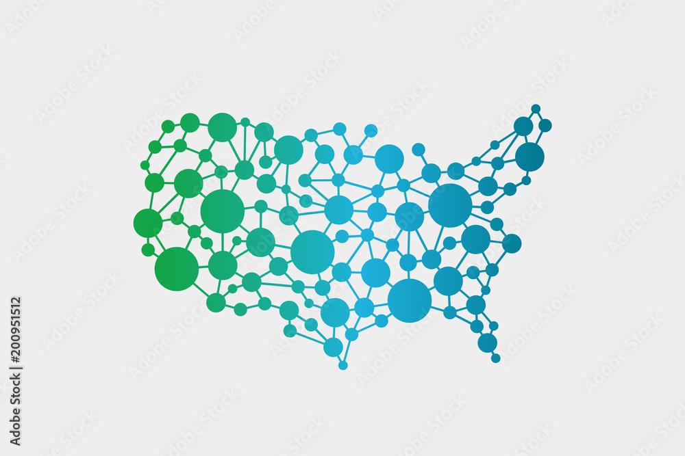 Fototapeta USA United States Network Map. Vector Graphic Design