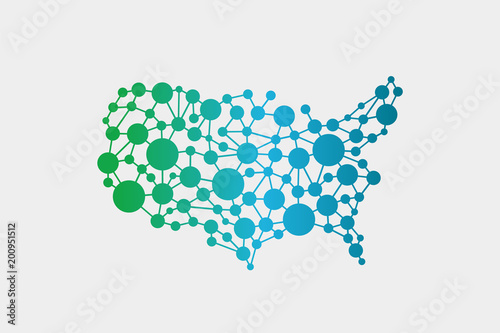 USA United States Network Map. Vector Graphic Design