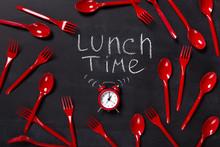 Lunch Time Written On Blackboard With Chalk