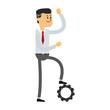 Businessman with gear cartoon vector illustration graphic design