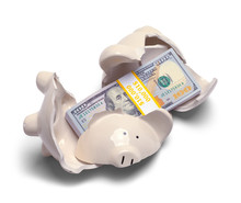 Money In Broken Piggy Bank