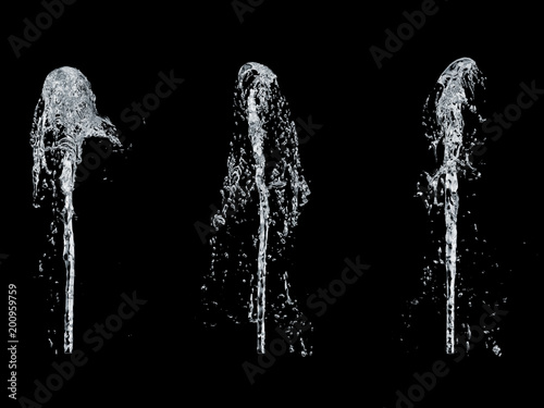 fountain of water isolated on a black background 3d rendering Wallpaper Mural