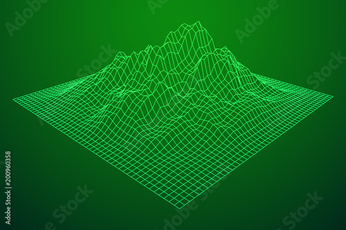 Staande foto Groene Wireframe landscape vector background. Cyberspace grid technology illustration