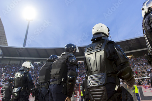 Vászonkép  Special police unit at the stadium event secure a safe match