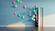 Balloons Fly Away Through Open Door