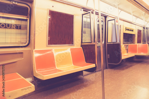 Vintage style New York City subway car interior with retro filter