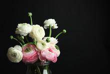 Glass Vase With Beautiful Ranu...