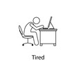 worker is tired icon. Element man in front of a computer in the workplace for mobile concept and web apps. Thin line icon for website design and development; app development