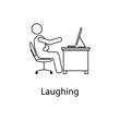 worker is laughing icon. Element man in front of a computer in the workplace for mobile concept and web apps. Thin line icon for website design and development; app development