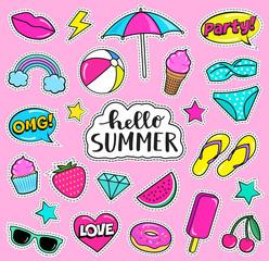 Set of cute summer fashion patches, strawberry, slippers, bikini, beach umbrella, ball,ice-cream, donut, lips, watermelon, cherry, cupcake, speech bubbles etc. Cartoon stickers. Vector illustration