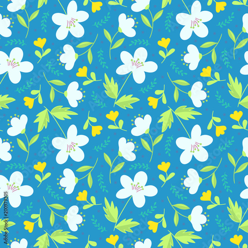 Poster Kunstmatig Cute elegant floral hand drawn seamless pattern. White and yellow flowers on teal blue background. Ditsy print. Perfect for textil design. Vector illustration