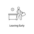 worker living early icon. Element people at the workplace for mobile concept and web apps. Thin line icon for website design and development; app development. Premium icon