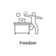 worker is freedom icon. Element people at the workplace for mobile concept and web apps. Thin line icon for website design and development; app development. Premium icon
