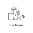 worker is losing control icon. Element people at the workplace for mobile concept and web apps. Thin line icon for website design and development; app development. Premium icon