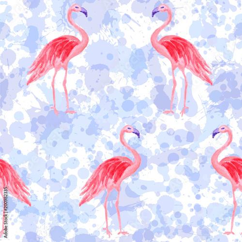 Canvas Prints Flamingo Bird Beautiful flamingo watercolor seamless tropical pattern. Paint splashes backdrop, blue stains splatter texture. Flamingo pink bird watercolor textile background, seamless fashionable pattern design.