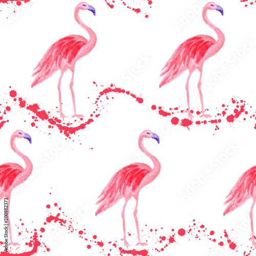 Tuinposter Flamingo Fashionable flamingo watercolor seamless pattern. Paint splashes waves backdrop, pink stains wavy splatter. Flamingo pink bird watercolor fabric background, seamless fashionable pattern design.