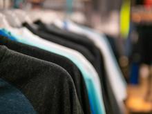 Shirt Hanging On Rack In Fashion Retail Store