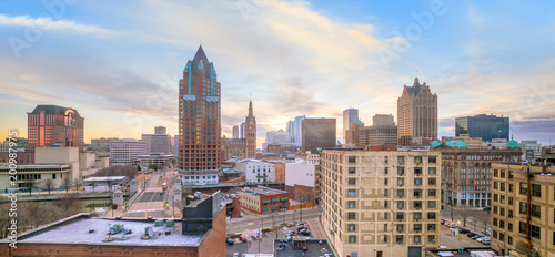 Downtown skyline with Buildings in Milwaukee USA