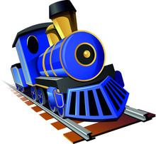 Blue Steam Train Illustration