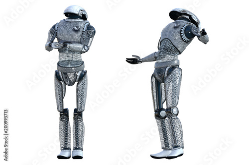 Pair of robot droids isolated on white, 3d render Poster Mural XXL