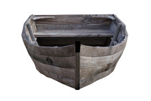 Weathered Wooden Boat Isolated On White, 3d Render