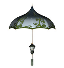 Blue Fancy Umbrella With Green...
