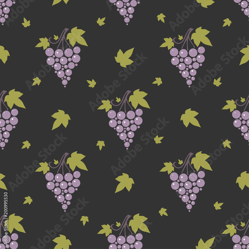 Poster Kunstmatig Seamless pattern with bunches of ripe grapes on dark background.
