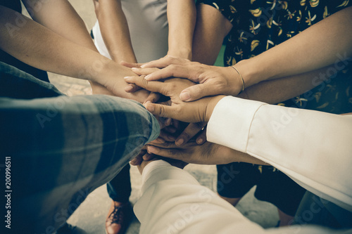 Fototapety, obrazy: Team work concept. Business people joining hands