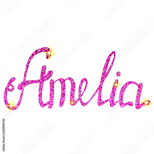 Photo Amelia name lettering tinsels