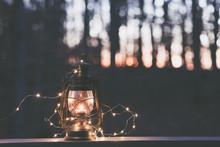 Old Fashioned Lantern In Darkness