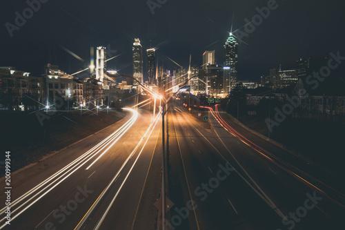 Plakat Atlanta śródmieścia miasta linia horyzontu nad międzystanową.