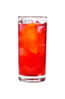 A single-colored transparent cocktail, refreshing in a tall glass with ice cubes, orange slice, lemon and taste of berries, cherries, strawberries, greiprut. Side view Isolated white background