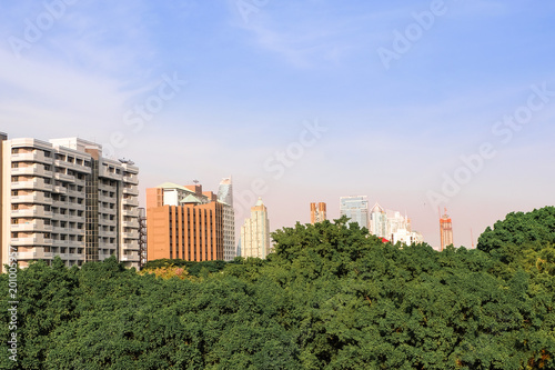 Photo  Cityscape and natural view of bangkok, Thailand, from high position in sunshine