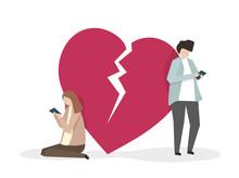 Illustration Of Two Heartbroke...