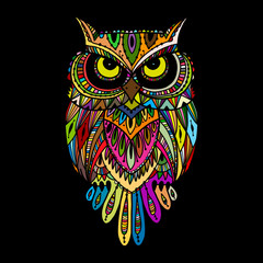 Panel Szklany Boho Ornate owl, zenart for your design