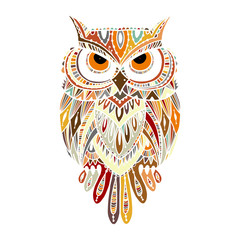 Panel Szklany Boho Ornate owl, zenart for your design